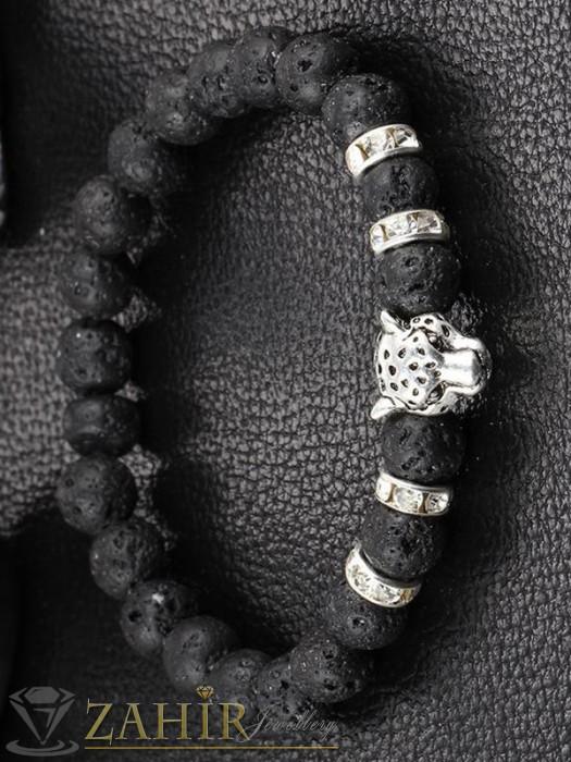 Дамски бижута - Ръчно низана гривна от черен ахат мат или вулканичен камък 8 мм, 3 размера, в златисто или сребристо - GA1178
