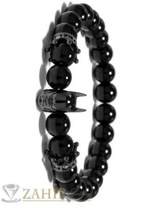 Полирана ластична гривна от естествен черен ахат 8 мм с батман и корони, 7 размера- GA1189