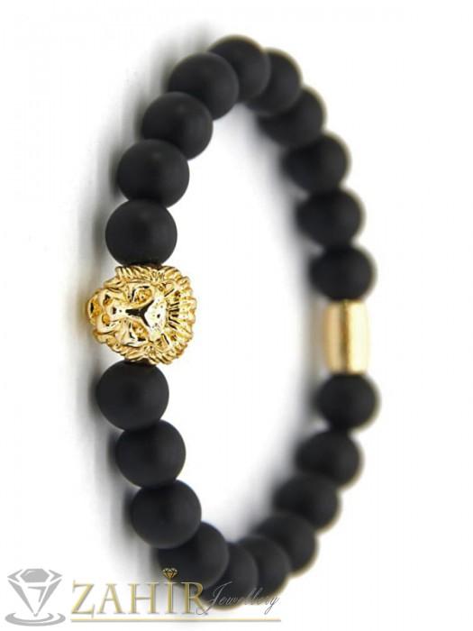 Дамски бижута - Ластична гривна от естествен черен ахат 8 мм със сребристо или златисто лъвче, 7 размера - GA1191