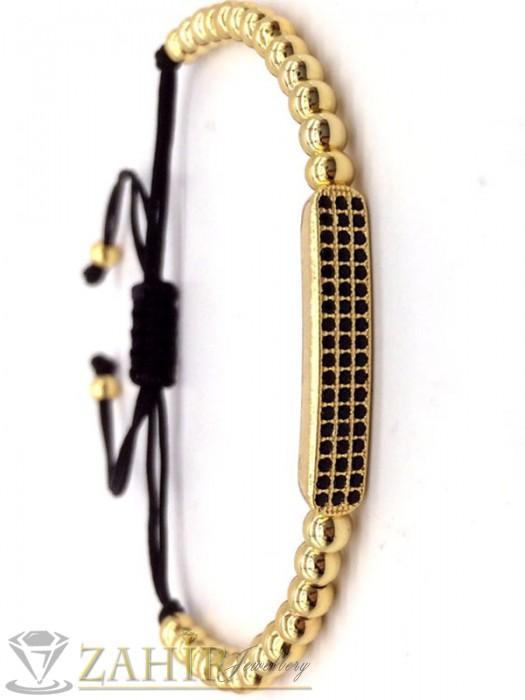 Дамски бижута - Ръчно изработена гривна от хематит 8 мм с кристална плочка 3 см, регулираща се - GA1207