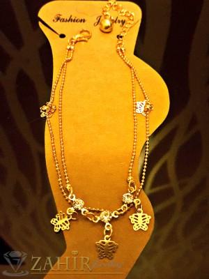 Елегантна гривна за крак с висулки пеперуди, златно покритие, дълга 20+5 см - GK1038