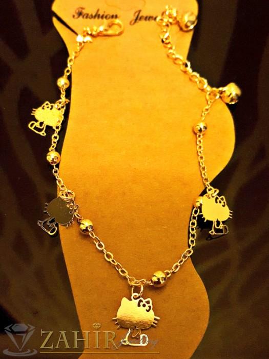 Елегантна гривна за крак с висулки котета, златно покритие, дълга 20+5 см - GK1039