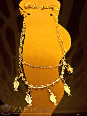Супер елегантна гривна за крак с висулки рибки с кристали, златно покритие, дълга 20+5 см - GK1043