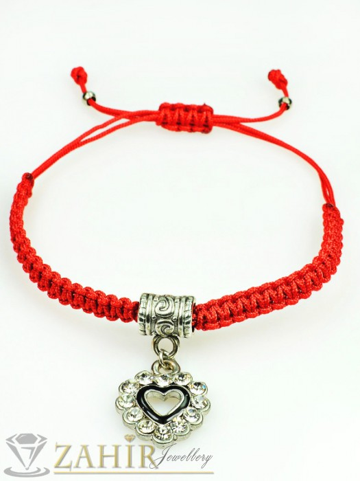 Ръчно плетена гривна против уроки с висулка сърце с кристали, регулираща се дължина - GU1057