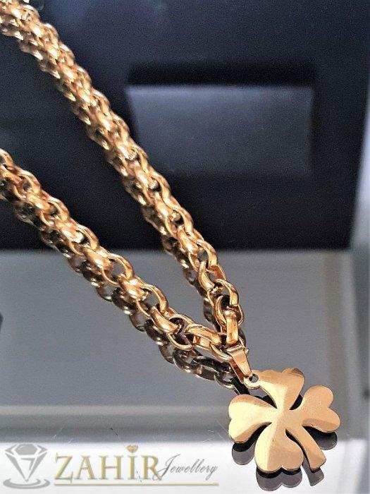 Дамски бижута - Великолепен стоманен дамски ланец - 45 см или 50 см с четирилистна детелина 2,5 см, широк 0,6 см- K1500