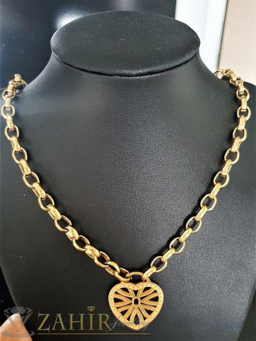 Дамски бижута -Позлатен стоманен дамски ланец в 4 размера с лазерно рязано гравирано сърце 3 см, широк 0,6 см - K1521