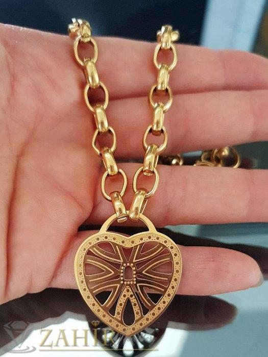 Позлатен стоманен дамски ланец в 4 размера с лазерно рязано гравирано сърце 3 см, широк 0,6 см - K1521