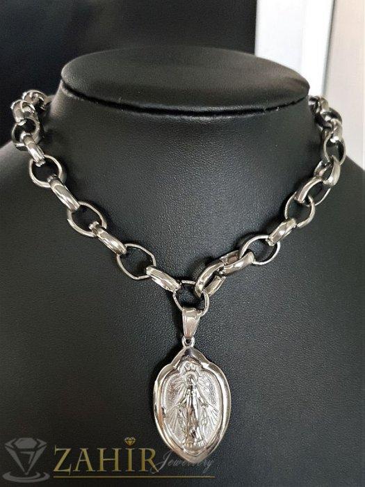Дамски бижута - Висококачествен стоманен ланец в 2 размера с висулка гравирана Богородица 4 см- K1522