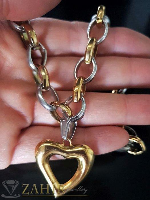 Дамски бижута - Двуцветен стоманен ланец в 2 размера, широк 1 см с висулка сърце 2,5 см - K1527