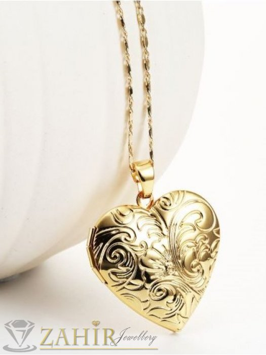 Отварящо стоманено гравирано се сърце за снимка - 2,5 см на тънък ланец - 48 см, златно покритие - K1569