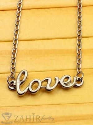 Сребрист надпис LOVE - 2 см на нежно колие 45 + 5 см, платинено покритие - K1593