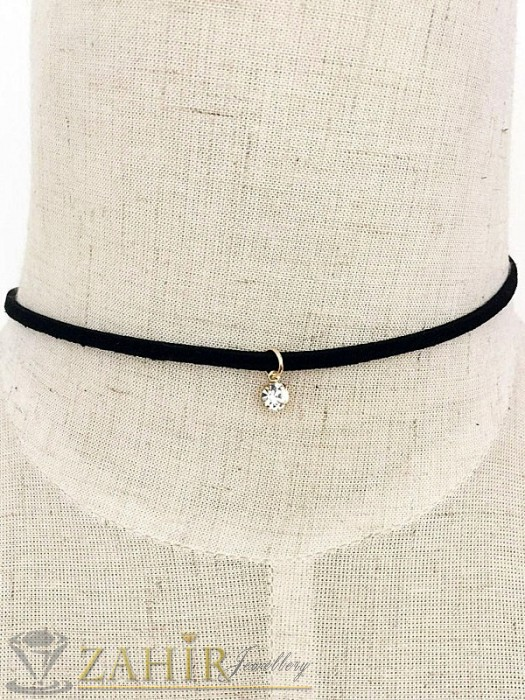 Дамски бижута - Актуална черна каишка с позлатена висулка кристал 30+ 6 см - K1606