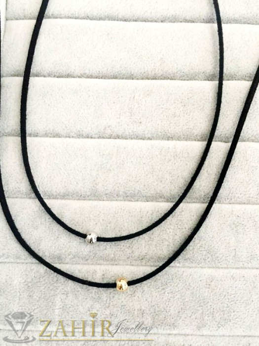 Дамски бижута - Актуална черна каишка с позлатено метално топче 30+ 6 см - K1607