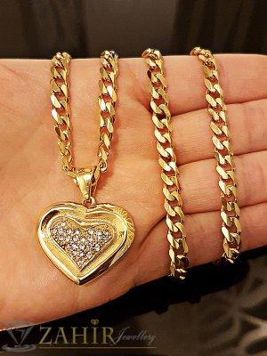 Позлатена стоманена висулка сърце с кристали 2,5 см на класически позлатен ланец 58 см - K1640