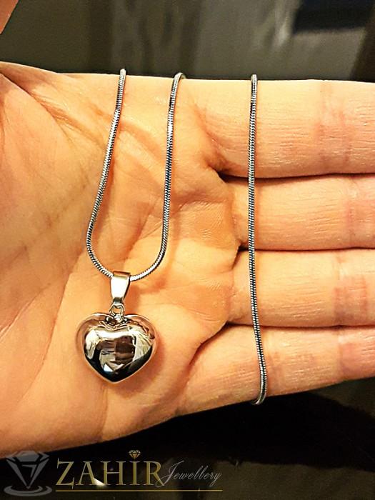 Нежен стоманен синджир 50 см с висулка изчистено стоманено сърце 1,5 см - K1641