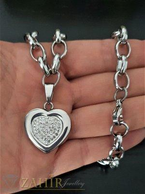 Стоманен ланец високо качество с висулка кристално сърце,наличен в 2 размера , не променя цвета си- K1645