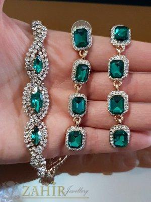 Зелен комплект кристални обеци 7 см и регулираща се гривна , златно покритие - KO1599