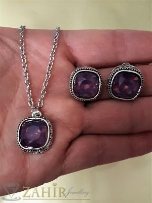 Красив комплект с виолетови кристали, колие 40 + 5 см и обеци 1,3 см - KO1689