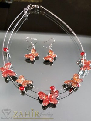 Високо качество емайлиран комплект с коралови пеперуди, колие 40 + 5 см и обеци 4 см - KO1693