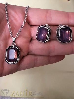 Стилен комплект с виолетови кристали, колие 40 + 5 см и обеци 1,5 см - KO1696