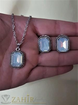 Стилен комплект с кристали бял хамелеон, колие 40 + 5 см и обеци 1,5 см - KO1698