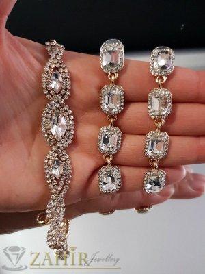 Луксозен комплект кристални обеци 7 см и регулираща се гривна с циркони, златно покритие - KO1684