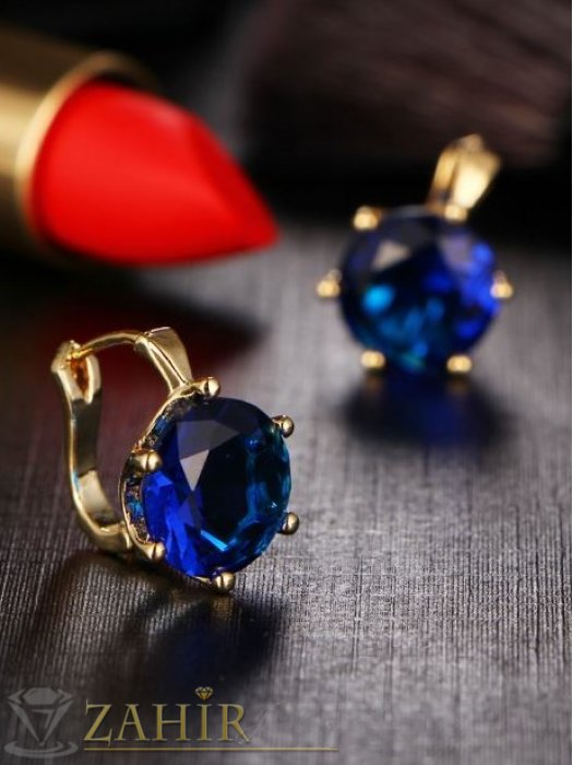 Дамски бижута -  Впечатляващи обеци 1,8 см с красив син кристал, златно покритие, англ. закопчаване  - O2030