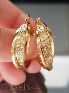 Изумителни халки 2,5 см с гръцки мотиви, златно покритие, английско закопчаване, печат- O2034