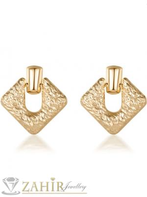 Златисти матови олекотени геометрични обеци 5,5 см, актуални, модни, закопчаване на винт - O2078