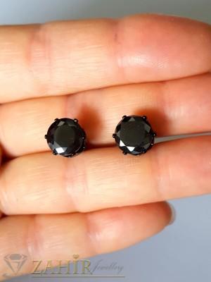 Малък 0,8 см фасетиран черен кристал  на обеци от неръждаема стомана,  на винт - O2091