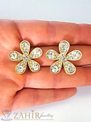 Романтични обеци кристално цвете с блестящи бели кристали и златно покритие - O2100