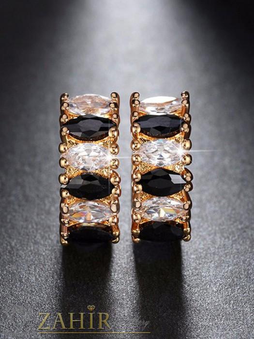 Дамски бижута - Нежни обеци - 2 см с блестящи бели и черни кристали, златно покритие, английско закопчаване - O2108