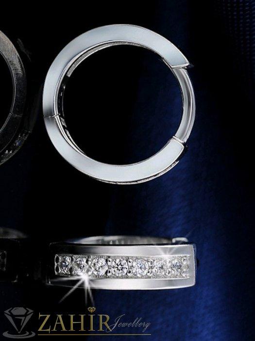 Дамски бижута - Висококачествени малки халки -1,6 см от стомана с блестящи кристали, анлглийско закопчаване - O2116