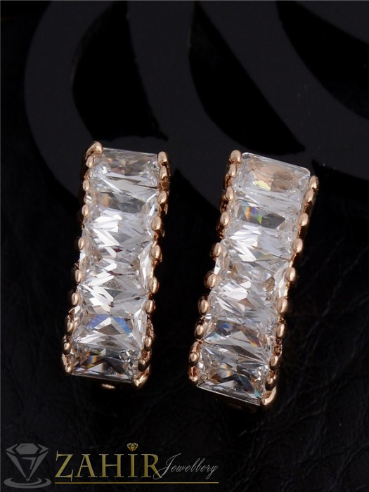 Дамски бижута - Изящни бели кристални обеци халки - 1,6 см, златно покритие, английско закопчаване - O2119