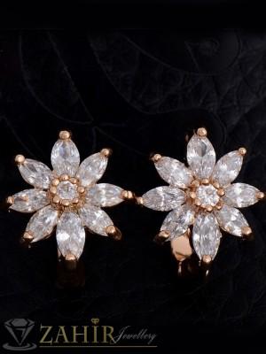 Нежни обеци кристални цветя - 1,4 см, златно покритие, английско закопчаване - O2135