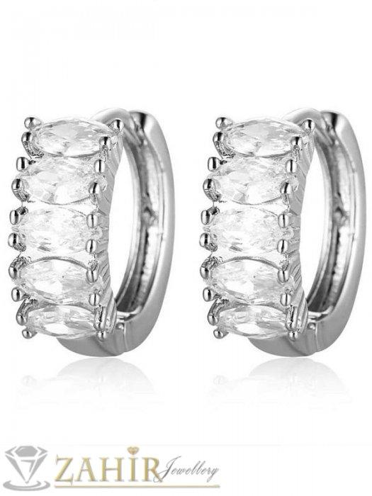 Дамски бижута - Блестящи нежни халки 1,6 см с фасетирани бели кристали, английско закопчаване, сребристи - O2140