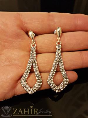 Елегантни висящи обеци 5 см с красиви бели кристали, златно покритие на винт - O2147