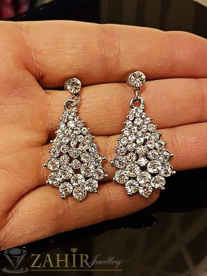 Елегантни висящи 3,5 см обеци с красиви бели кристали, сребърно покритие,на винт - O2158