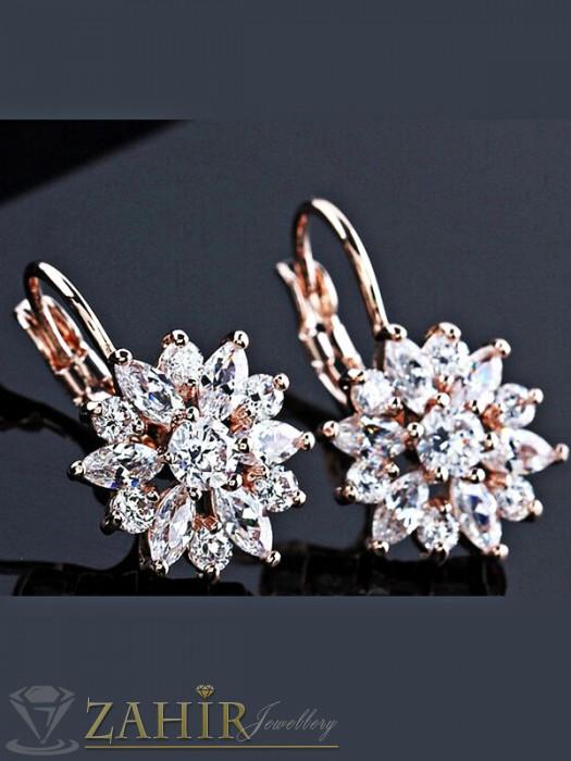Великолепни обеци с фасетирани бели кристали, розово златно покритие, на кукичка - O2185