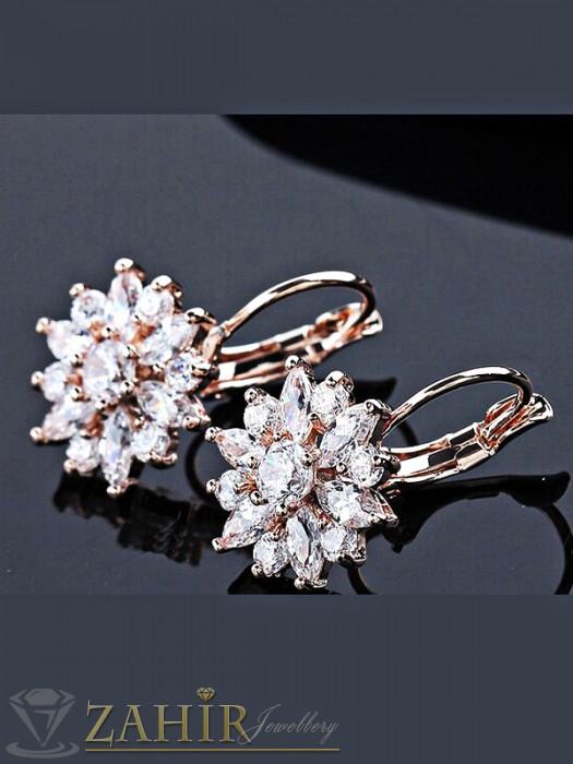 Дамски бижута - Великолепни обеци с фасетирани бели кристали, розово златно покритие, на кукичка - O2185