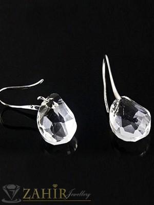 Класически обеци - 4 см с голям прозрачен кристал, сребърно покритие, на кукичка - O2203