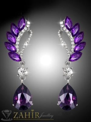 Великолепни виолетови кристални 6 см обеци, сребърно покритие на винт - O2231