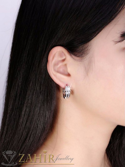 Дамски бижута - Класически халки с 2 лица 1, 8 см, сребърно покритие, английско закопчаване - O2239