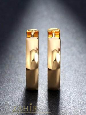 Класически изчистени стоманени позлатени халки 1, 7 см, английско закопчаване - O2240