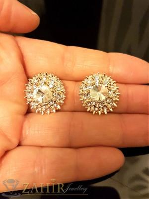 Нежни обли обеци 2 см с красиви бели кристали, златно или розово златно покритие - O2269