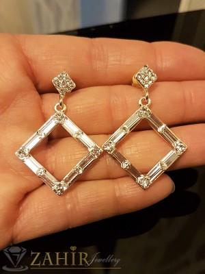 Изящни кристални обеци ромбоиди 4 см със сребърно покритие, на винт - O2278