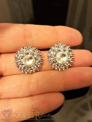 Нежни овални кристални обеци 1,8 см сребърно покритие, на винт - O2282
