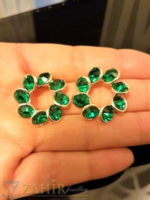 Блестящи обеци 2,3 см с фасетирани зелени кристали, златно покритие, на винт - O2287