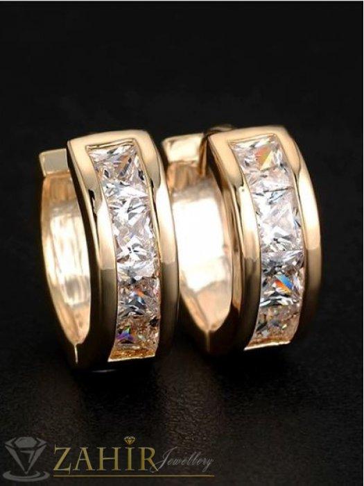 Дамски бижута - Класически малки халки - 1,5 см с кристали, златно покритие, английско закопчаване - O2190