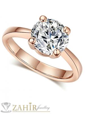 Нежен годежен пръстен с голям 0.6 см фасетиран бял циркон - P1368